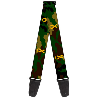 Guitar Strap - Support Our Troops Camo Olive Yellow Ribbon