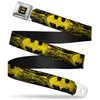 Batman Full Color Black Yellow Seatbelt Belt - Batman Shield CLOSE-UP Sketch Black/Yellow Webbing