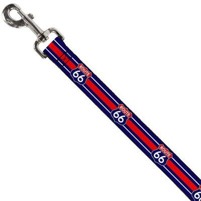 Dog Leash - ROUTE 66 Highway Sign/Stripe Blue/White/Red