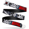MARVEL COMICS BLACK PANTHER Title Logo Full Color Black Gray Red Seatbelt Belt - BLACK PANTHER 3-Poses/Plaid Black/Grays/Red/White Webbing