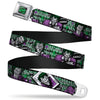 HAHA Stacked Full Color Black Gray Green Seatbelt Belt - The Joker 4-Poses/Joker Card HAHA/Smile/BANG! Grays/Greens/Purples Webbing