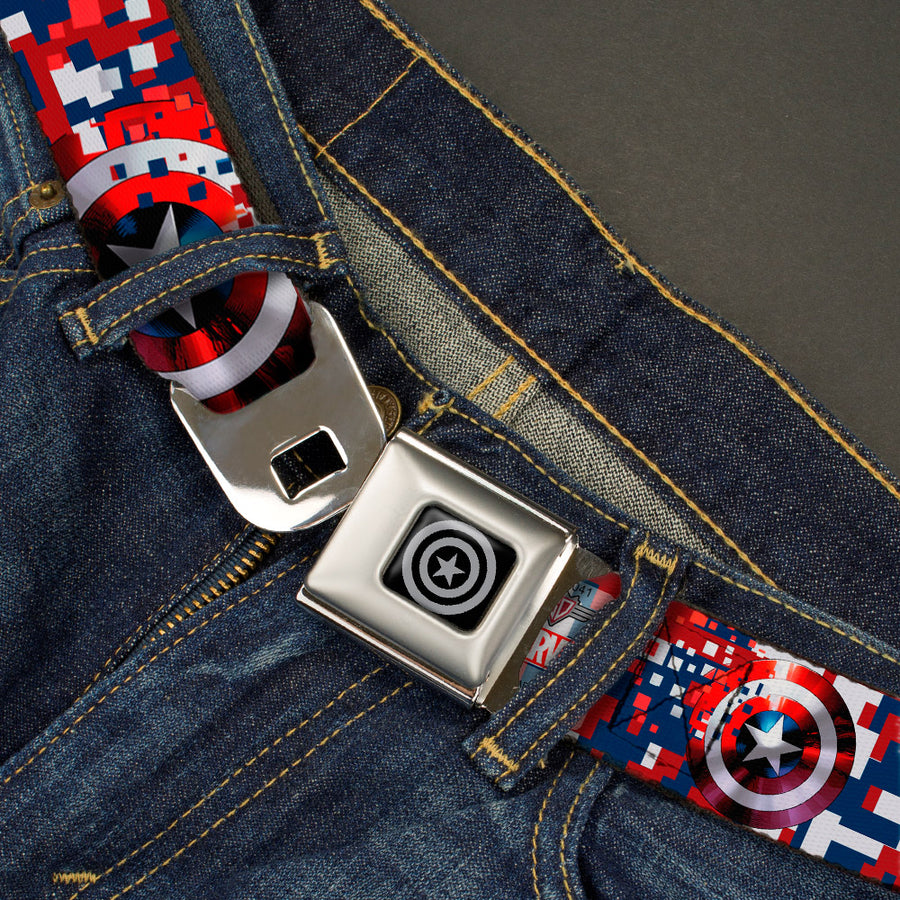 MARVEL AVENGERS Captain America Shield Black Silver Seatbelt Belt - Captain America Shield Digital Camo Blue/White/Red Webbing