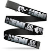 Black Buckle Web Belt - HEMI 426/Elephant Logo 50 YEARS Black/White/Silver-Fade Webbing