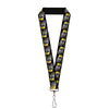 "Lanyard - 1.0"" - C6 Racing w Skull Repeat Black Yellow Silver"