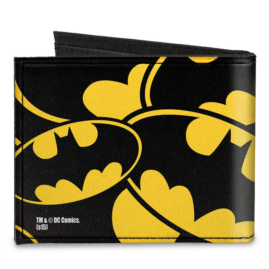 Canvas Bi-Fold Wallet - Bat Signals Stacked Yellow Black
