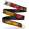 Flash Logo4 Full Color Black Yellow Red Seatbelt Belt - The Flash Running Poses LIGHTNING STRIKES Grays/Red/Yellow Webbing