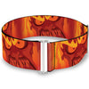 Cinch Waist Belt - Hades Fiery Face CLOSE-UP Reds Oranges
