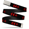 Chrome Buckle Web Belt - Bat Logo/Harley Quinn Diamonds Black/Red Webbing