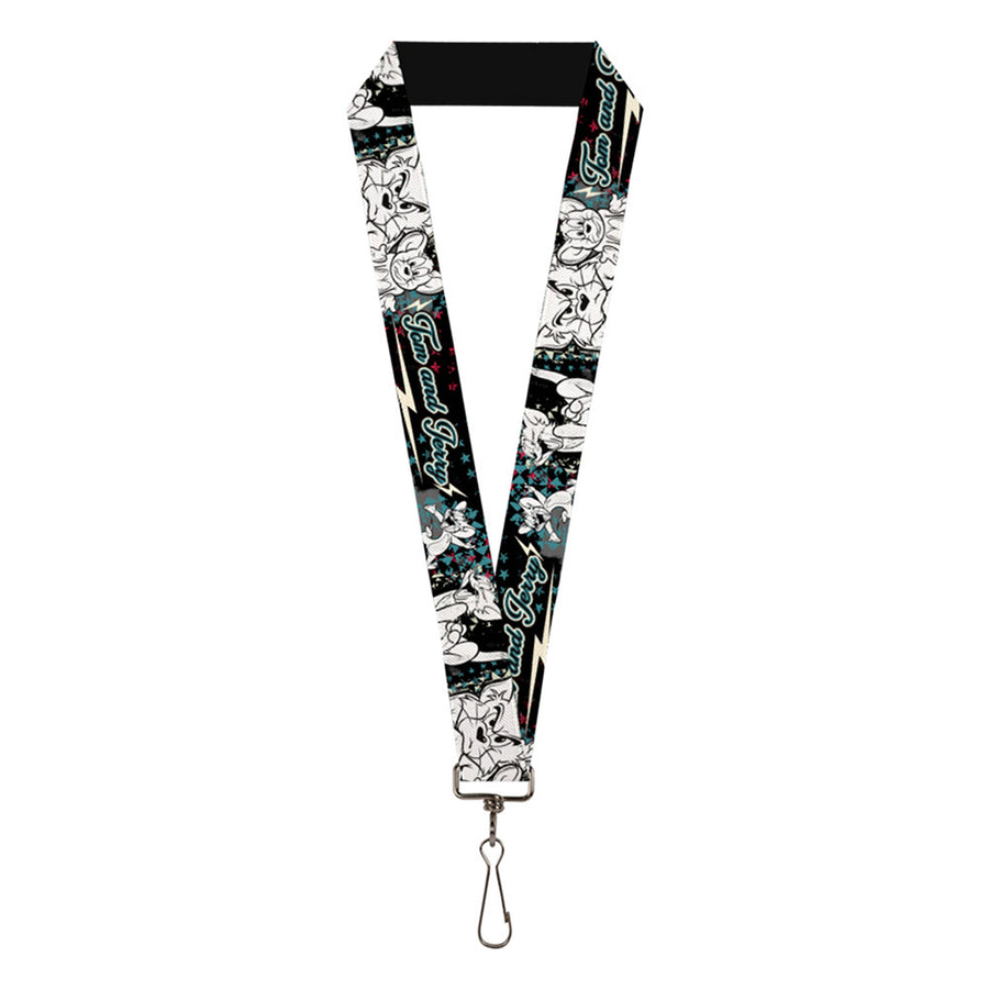 "Lanyard - 1.0"" - TOM & JERRY Face & Pose Sketch Black White Red Blue"