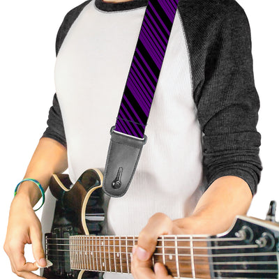 Guitar Strap - Diagonal Stripes Black Purple