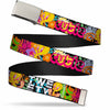 Chrome Buckle Web Belt - Tweety Bird Poses LITTLE CUTIE-LOVEABLE Black/Multi Color Webbing