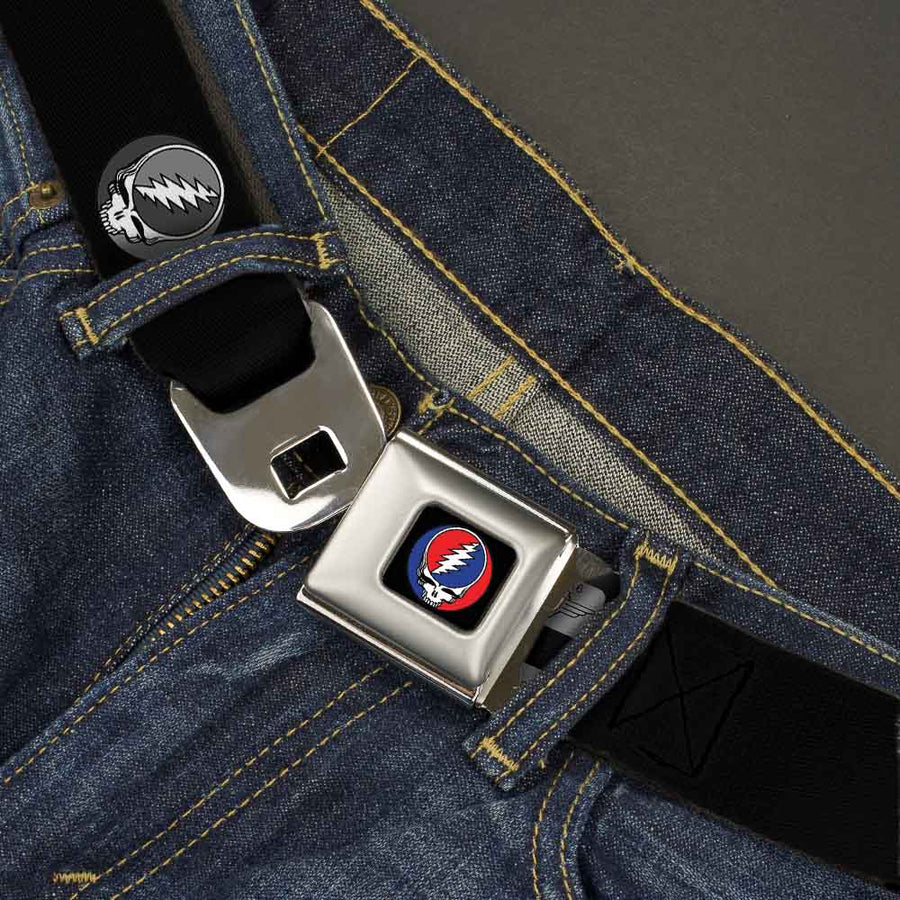 Steal Your Face Seatbelt Belt - Steal Your Face Repeat Black/Gray Webbing