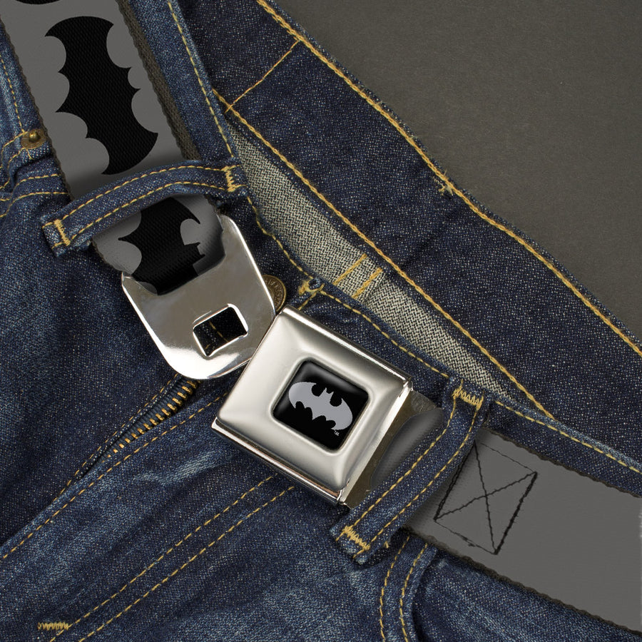 Batman Black Silver Seatbelt Belt - Bat Logo Transitions Gray/Black Webbing