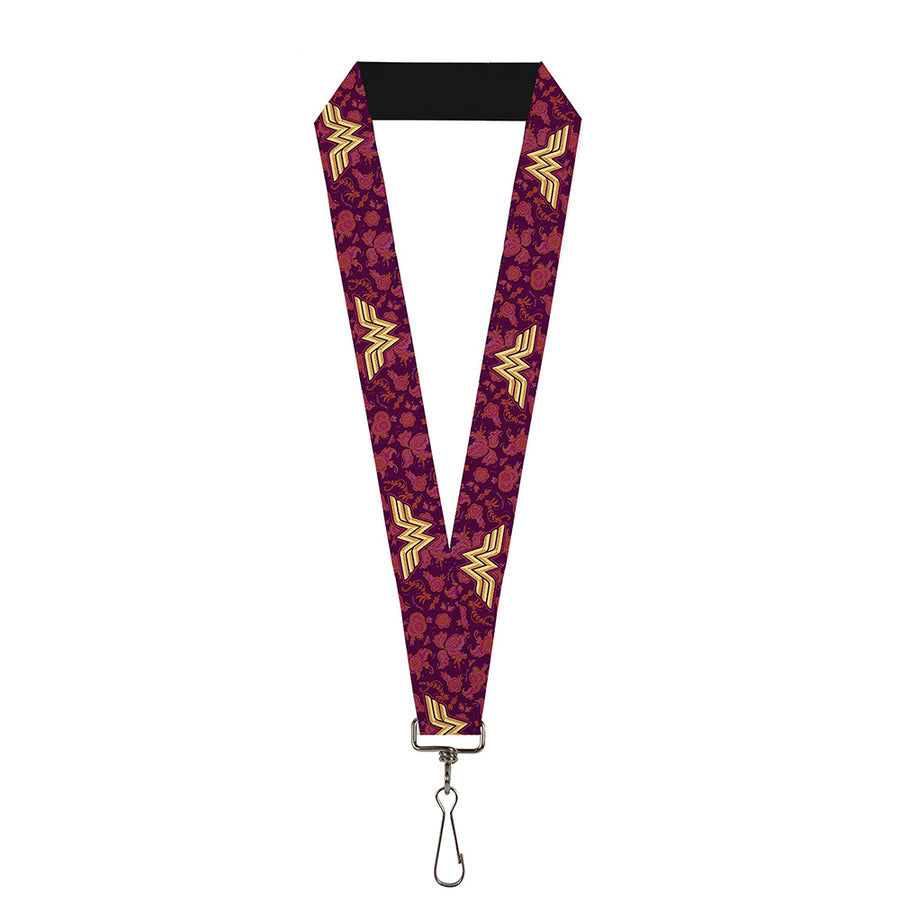 "Lanyard - 1.0"" - Wonder Woman Logo Floral Collage Purple Pinks Gold"