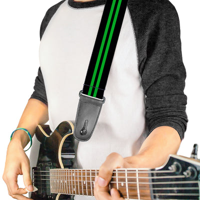 Guitar Strap - Stripe Black Green