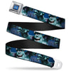 Monsters University Logo Full Color Blue White Seatbelt Belt - Sulley Scare Pose/Dots Blues/White Webbing