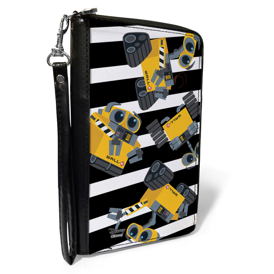 Women's PU Zip Around Wallet Rectangle - WALL-E Poses Scattered Stripe Black White
