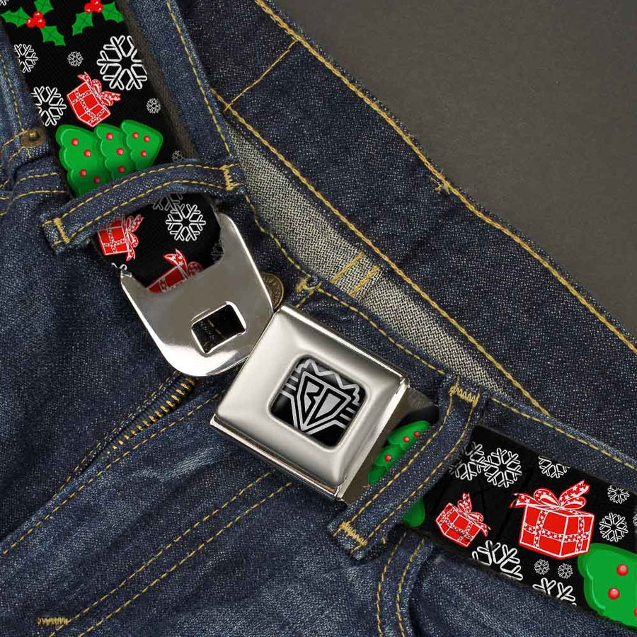 BD Wings Logo CLOSE-UP Full Color Black Silver Seatbelt Belt - Christmas Collage Black/White/Green/Red Webbing
