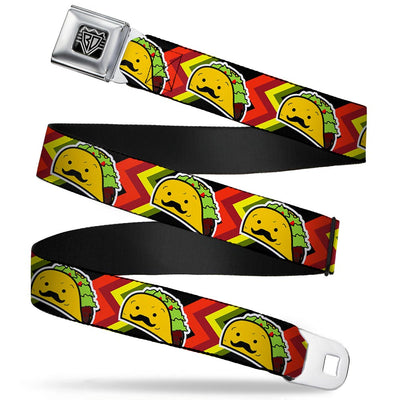 BD Wings Logo CLOSE-UP Full Color Black Silver Seatbelt Belt - Taco Man Webbing