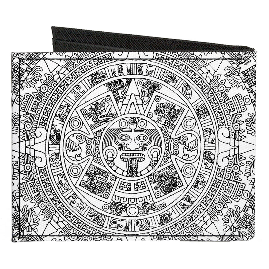 Canvas Bi-Fold Wallet - Aztec Calendar White Black
