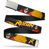 Chrome Buckle Web Belt - ROBIN Red/Black Poses Gray Webbing