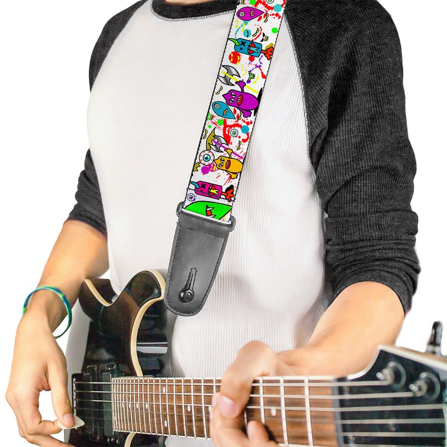 Guitar Strap - Monsters White