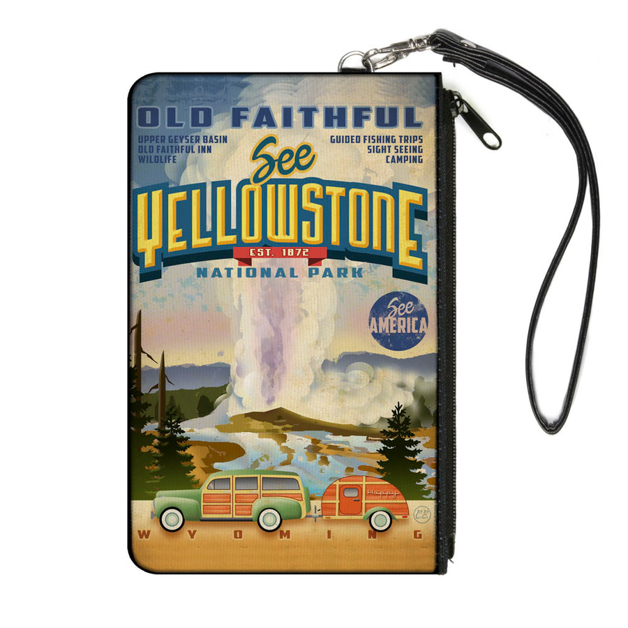 Canvas Zipper Wallet - LARGE - SEE AMERICA-Vintage SEE YELLOWSTONE-OLD FAITHFUL Tourism Scene