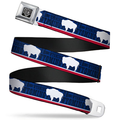 BD Wings Logo CLOSE-UP Full Color Black Silver Seatbelt Belt - Wyoming Flags/WYOMING Typography Webbing