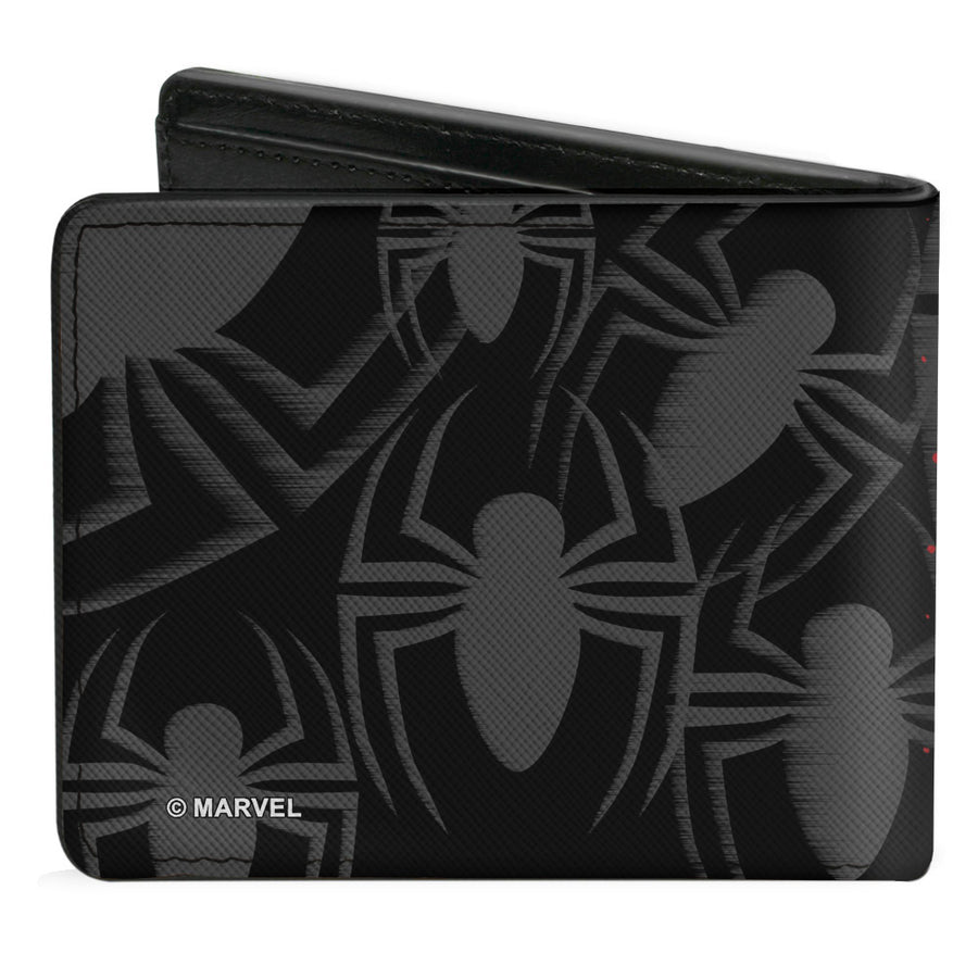 2017 MARVEL SPIDER-MAN Bi-Fold Wallet - Spider-Man Jumping Pose Sketch Scattered Spiders Black Gray Red Blue