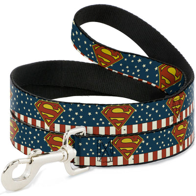 Dog Leash - Superman Shield Americana Red/White/Blue/Yellow