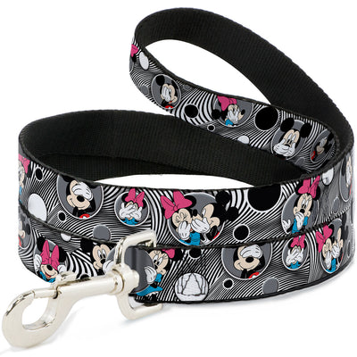 Dog Leash - Mickey & Minnie Peek-a-Boo Expressions Swirl Black/White