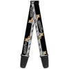 Guitar Strap - PLAY ME OFF, KEYBOARD CAT Black White