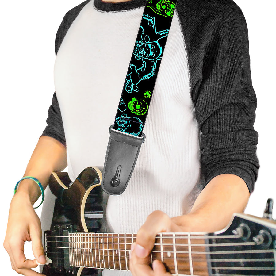 Guitar Strap - Monsters Inc Sully & Mike Poses GRRRRR! Black Turquoise Green