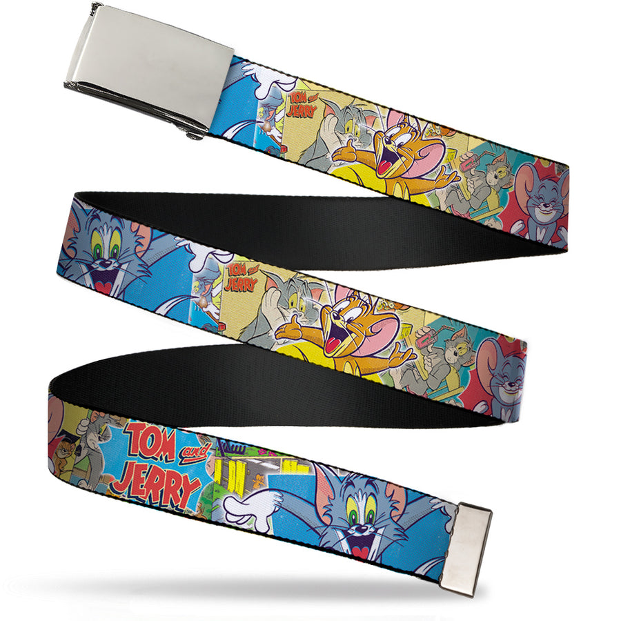 Chrome Buckle Web Belt - TOM & JERRY Faces/Stacked Scene Panels Webbing