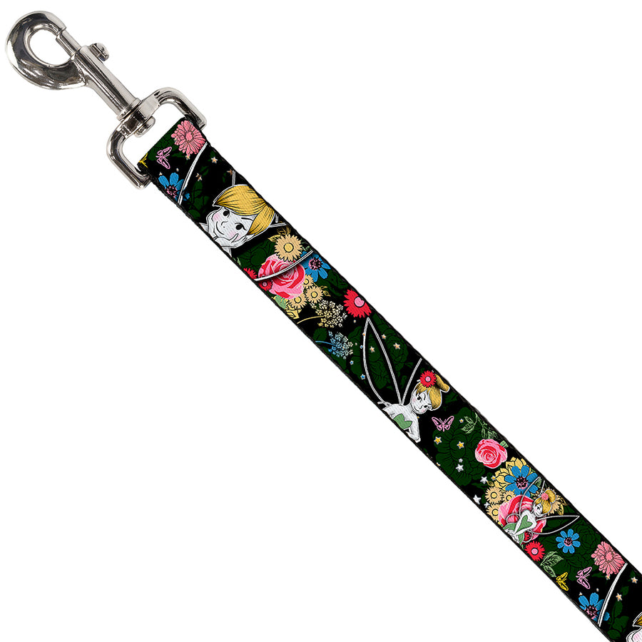 Dog Leash - Tinker Bell Poses/Sleeping Floral Collage