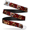 Dug Tongue Out Pose Full Color Black Seatbelt Belt - Dug 4-Poses/Balloons/Paw Print Reds Webbing