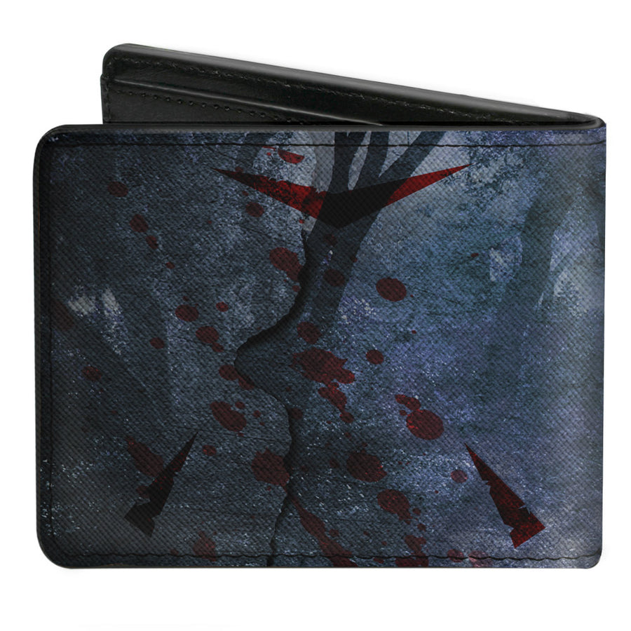Bi-Fold Wallet - Friday the 13th WELCOME TO CAMP CRYSTAL LAKE Sign Trees Grays Blood Splatter