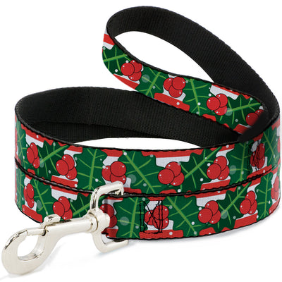 Dog Leash - Snowy Holly Stripe Reds/White/Greens