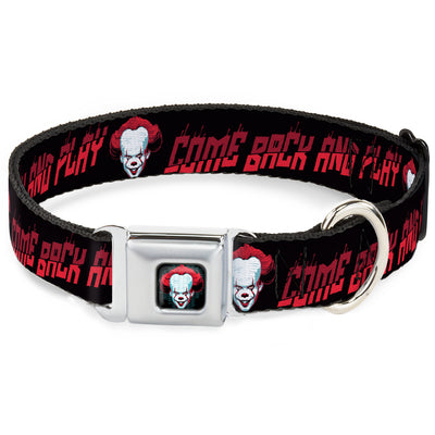 It Chapter Two Pennywise Face Full Color Black/Reds/Blues Seatbelt Buckle Collar - It Chapter Two Pennywise Face COME BACK AND PLAY Black/Reds