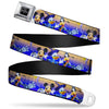 KINGDOM HEARTS Logo Full Color Black/Silver/Blue Fade Seatbelt Belt - Kingdom Hearts Birth by Sleep Mickey/Donald Duck/Goofy Group Pose/Diamonds Gold/Purple-Fade Webbing