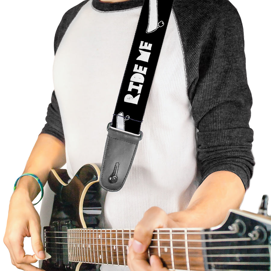 Guitar Strap - RIDE ME Skateboard Black White