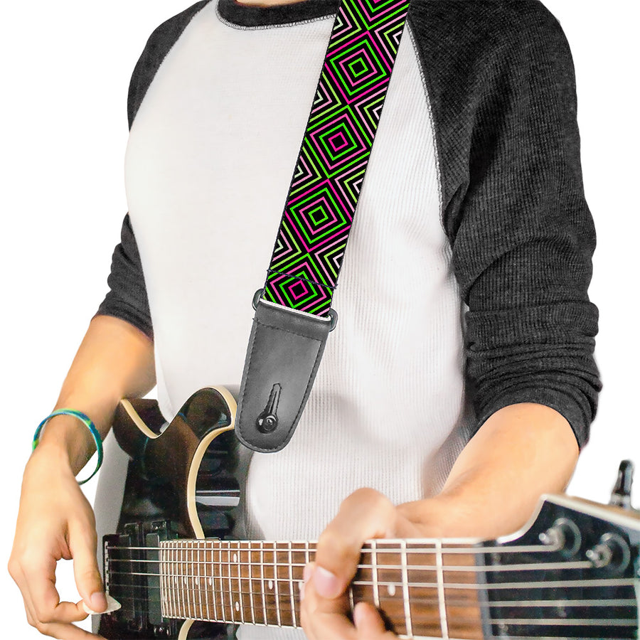 Guitar Strap - Square Lines Black Greens Pinks