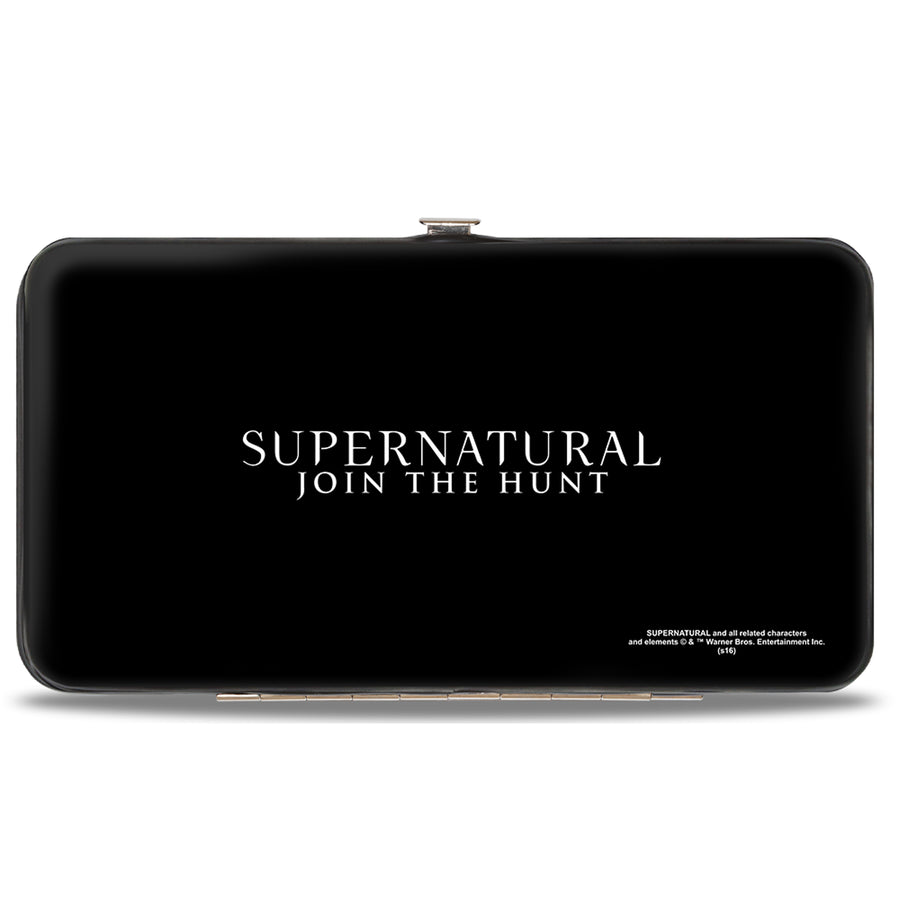 Hinged Wallet - Dean Smiling Pie Galaxy Blue-Purple Fade + SUPERNATURAL-JOIN THE HUNT Black White