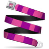 Cheshire Cat Face Full Color Pink Seatbelt Belt - Cheshire Cat Stripe Pink/Purple Webbing