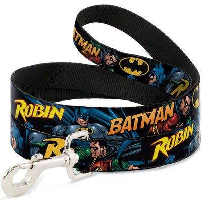 Dog Leash - Batman & Robin in Action w/Text Black