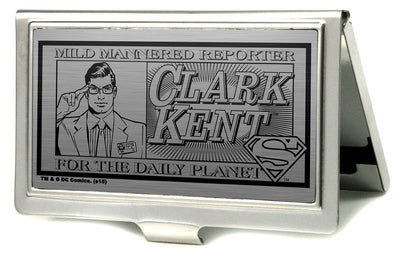 Business Card Holder - SMALL - CLARK KENT Pose MILD MANNERED REPORTER FOR THE DAILY PLANET Brushed Silver Black