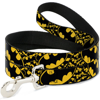 Dog Leash - Bat Signals Stacked w/CLOSE-UP Yellow/Black