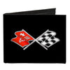 Canvas Bi-Fold Wallet - Corvette C3 Crossed Flags Logo Black