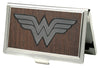 Business Card Holder - SMALL - Wonder Woman Logo Marquetry Black Walnut Metal