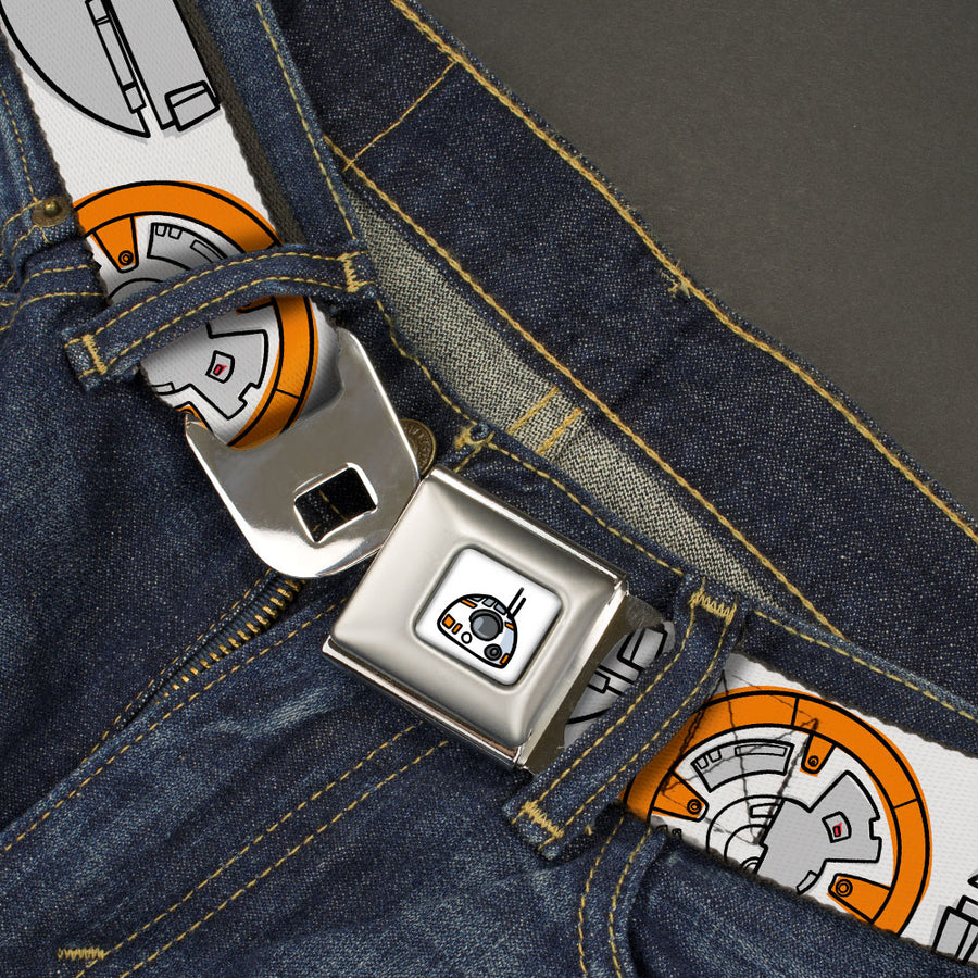 Star Wars BB-8 Head Full Color White/Black/Grays/Orange Seatbelt Belt - Star Wars BB-8 Bounding Parts White/Black/Grays/Orange Webbing